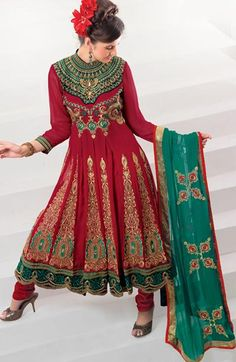 $109.52 Red Faux Georgette A Line Embroidery and Stone Work Anarkali