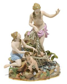 A Meissen porcelain figural group: Capture of the Tritons late 19th century