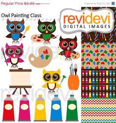 80% OFF SALE Owl Art Class Clip art 07508 by revidevi on Etsy