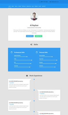 Resume Web Template This Resume WordPress Theme Has Horizontal Scrolling Social Media