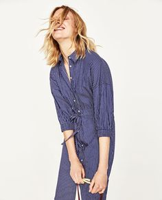 Image 2 of STRIPED SHIRT-STYLE TUNIC from Zara