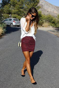 White shirt, maroon skirt