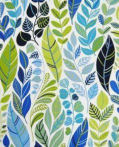 scandinavian fabric 50s 60s vtg retro Heals era leaves