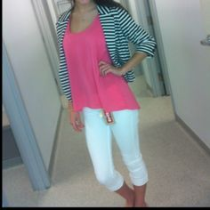 Stripped blazer with a pink top and white capris... ADORABLE