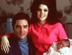 Priscilla Presley and Elvis Presley and Lisa Marie Presley (1968)