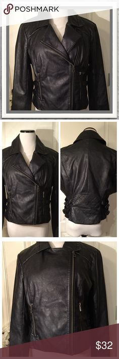 NWT BLANC NOIR FAUX LEATHER JACKET This NWT is a fantastic jacket it gives you two different looks. Wear either with collar down on the one side or all the way zipped up. Jacket is manufactured with a vintage wash process and any variations in color or appearance is a result of this refined vintage treatment. Because of this process no two jackets will be alike. Makes it a one of a kind jacket. Interior snap and full zipper. 2 exterior front pockets. Laying flat and zipped measures…