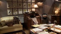 Alicia's dining room/office space in The Good Wife. Find some of these pieces @findhomefurnishings.com.