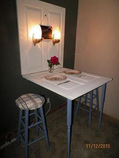 This Antique door was re-purposed to a door table. You'll be the talk of the town with this unique table in your home. Ivory & country blue colors. If you have limited space this is the table for you. | eBay!