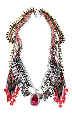 Playing with rocks and stones...Shop Crystal Tassel Necklace by Venna for Preorder on Moda Operandi