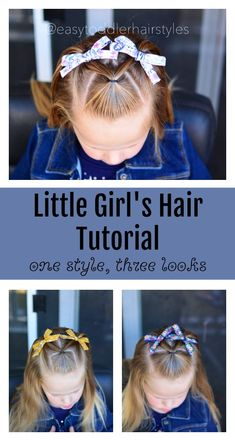 3 simple fast toddler hairstyles that can be done in under 5 minutes. They feature different part lines to give them a fun look. 5 Minute Hairstyles, Try On Hairstyles, Baby Girl Hairstyles, Box Braids Hairstyles, Hairdos, Easy Toddler Hairstyles, Toddler Boy Haircuts, Cute Hairstyles For Kids, Girl Hair Dos