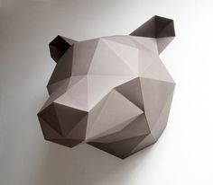 diy paper sculptures by assembli - paper bear