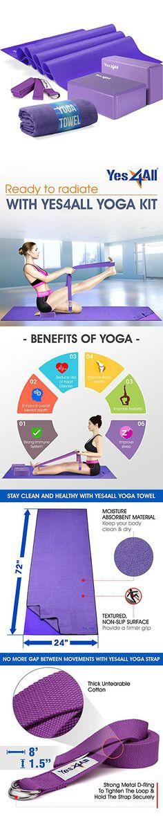 eeafaa8000 Yes4All Yoga Starter Kit – Include: 2 Yoga Blocks, Yoga Strap, Yoga Towel & Exercise  Yoga Mat (NBR or PVC Material) (Purple)