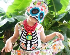 Day Of The Dead Costume Pattern DIY Easy Felt Skull Mask and Chest Plate Skeleton Outfit Children and Adults