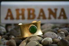 Gold plated brass bracelet with green chalcedony