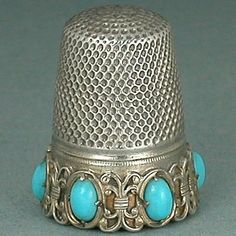 Vintage Turquoise Set Band Solid Silver Thimble * Germany * Circa 1920s