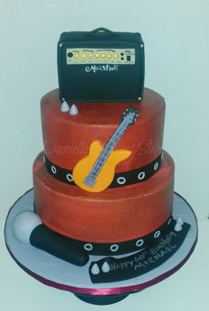Rocker Music Themed Birthday Cake - 60th Birthday ~ Amplifier  Guitar Microphone Distressed buttercream icing with fondant accents