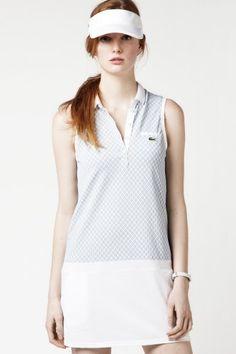 Lacoste Sleeveless Technical Pique Vintage Tennis Ball Printed Polo Dress : Dresses