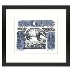Buy Adelene Fletcher - Moonlit Badger Framed Print, 49 x 44cm Online at johnlewis.com