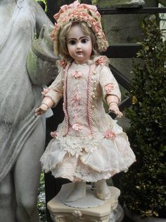 """~~~ Pale Rose Silk BeBe Costume with """"Que de Paris"""" and pretty Bonnet from whendreamscometrue on Ruby Lane"""