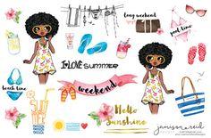 African American Summer surf planner stickers, Happy Planner, ECLP, Kate Spade, KikkiK, Filofax, Midori, MAMBI