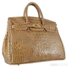 Authentic carbotti birkin style camel glazed croc 35cm bag with lock and key 6c6790c592182