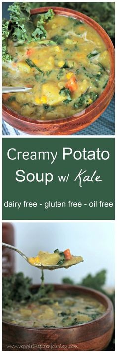 Creamy Dairy Free Potato Soup w/ Kale - so thick and delicious. Thickened only by pureeing some of the potatoes. Cannot WAIT to try this in Fall.