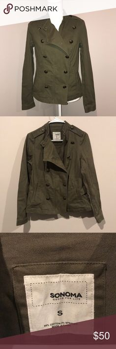 Army green military jacket Beautiful army green military jacket - size small. This is my new favorite item for spring!!! Love the color & style. Lovely accented bronze buttons and a from zipper. Also has pockets and snaps on sleeves so they can be rolled up if desired. Like new condition. 💚💚💚💚 Sonoma Jackets & Coats Utility Jackets