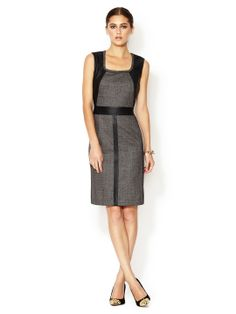 Seema Sheath Dress with Leather Combo by Lafayette 148 New York at Gilt