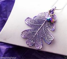Real Silver Leaf Jewelry Oak Leaf with Purple Patina Crystal Silver Neckchain   eBay