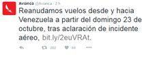 Avianca reanudará vuelos a Venezuela luego de incidente con aeronave militar