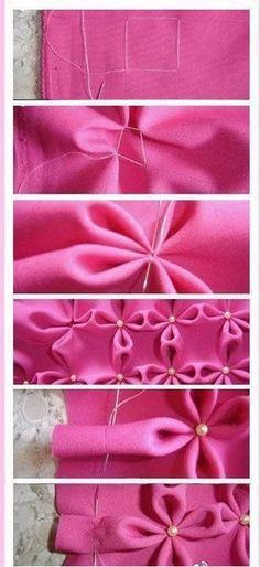 A simple and beautiful hand-stitch fabric: flowers with pearl centers. http://justimagine-ddoc.com/crafts/crafty-finds-for-your-inspiration-no-5/gallery/image/hand-stitch-fabric/