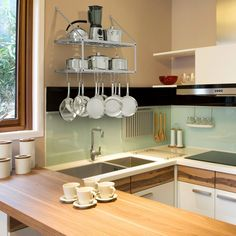 DISPLAY: This pot rack will also be a stunning addition to your kitchen. It displays all your favorite cookwares and creates a ambiance of profession in your kitchen. Its simple yet attractive design will surely make kitchen a warm and cozy place. #studioapartmentstorage
