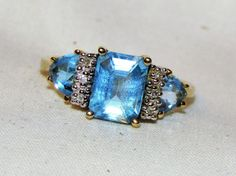 Designer 1.72 TCW ESTATE BLUE TOPAZ AND DIAMOND 10K YELLOW GOLD RING - SIZE 7 #SolitairewAccents