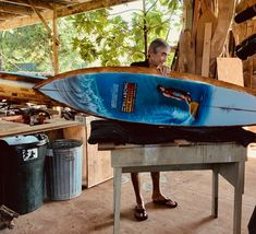 2018 Pipe Masters trophy surfboard featuring art by Phil Roberts