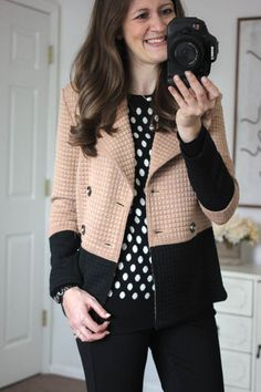 Gideon Polka Dot Sweater and Pierina Textured Colorblock Peacoat from Stitch Fix