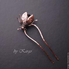 Купить Шпилька Жук, который цветок! - коричневый, медь, жук, насекомые, цветок, шпилька, подарок