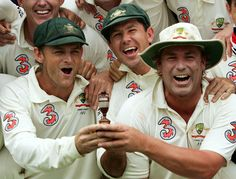 Punter celebrates the Ashes win with Gilly & Warney