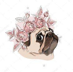 Pug flower crown
