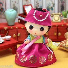 "DDUNG Hanbok PINK Lovely Cute 4"" Mini Doll Figure Toy Collectible X-Mas Gift"