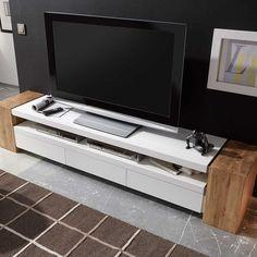 tv unterschrank lex in weiss matt eiche massiv