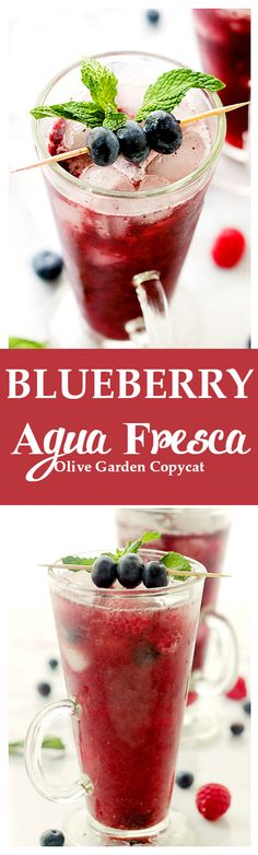 Blueberry Agua Fresca | www.diethood.com | Delicious, healthy and sweet fruit-water made with blueberries, lemon juice, and honey.