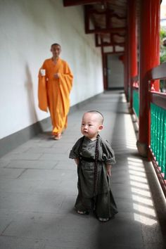 The cute little monk in Xichan Temple, Fuzhou, southeast China's Fujian Province.