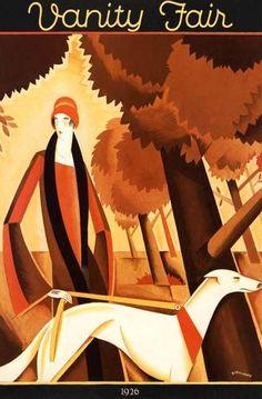 Art deco fashion greyhound dog Bobritsky autumn art poster print More Art Deco Posters, Vintage Posters, Vintage Art, Poster Prints, Art Deco Illustration, Art Nouveau, Cover Art, Greyhound Kunst, Art Quotidien