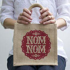 'Nom Nom' Lunch Bag hand printed by Alexandra Snowdon