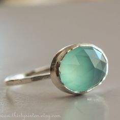 Sterling Silver Ring with Aqua Chalcedony by ThirtySixTen on Etsy, $48.00