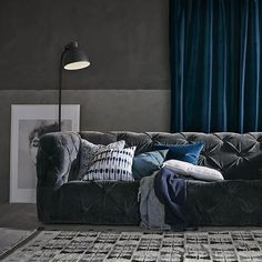 Create a Cool & Calm Vibe with some Blue Velvet Curtains for your next Living Room Project - www.LushesCurtains.com
