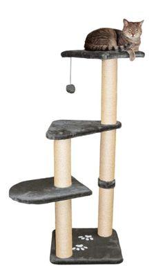 Cat Tree Furniture Scratchpost Felines Pet w/Pom-Pom Toy Relax Play Trixie Gray