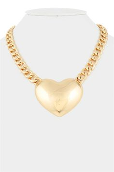Gold huge heart chain Necklace $25.00