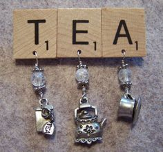 SALE - Upcycled Recycled Scrabble Tile TEA Pin with clear glass beads and pewter tea charms