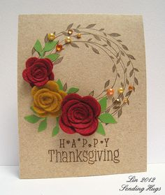 Beautiful Thanksgiving Card! Hero arts wreath of leaves stamps
